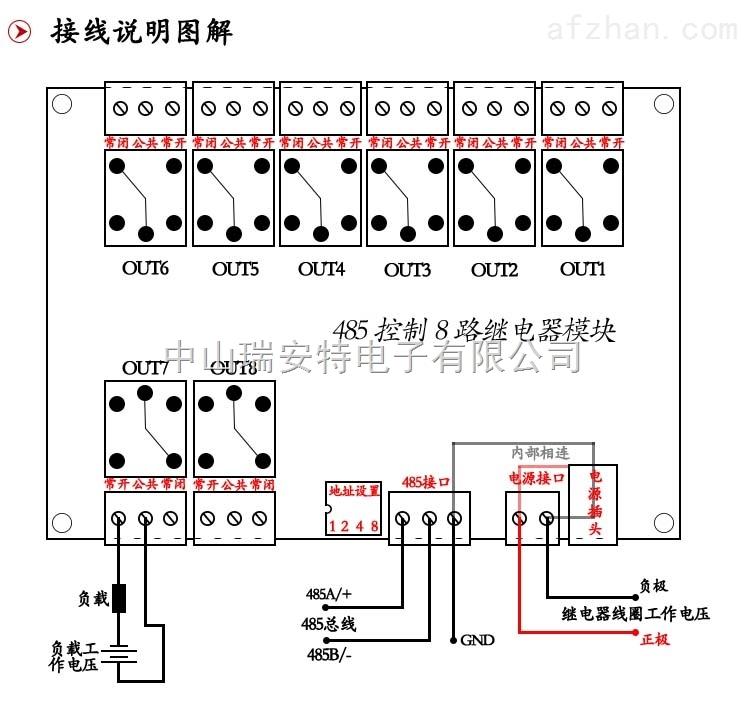 485总线8路继电器输出模块 灯光控制模块 远程总线灯光开关 485总线