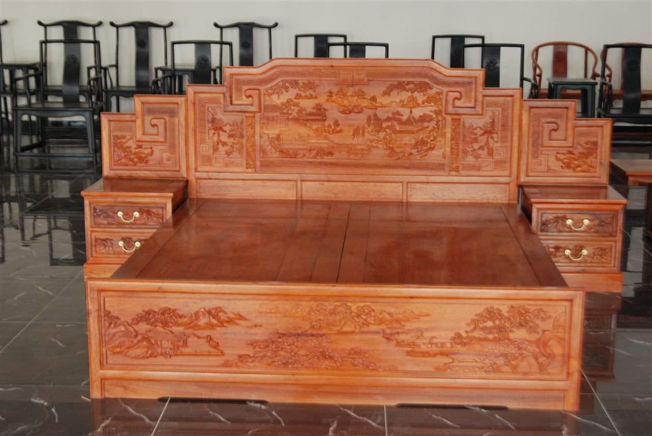 草花梨现代床-嘉和-大城县嘉和红木家具有限公司
